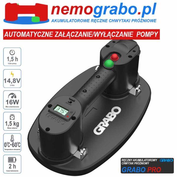 Grabo Pro przyssawka akumulatorowa chwytak próżniowy do płyt, płytek, szkła kostki brukowej