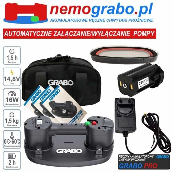Grabo PRO- akumulatorowy chwytak próżniowy przyssawka do płytek